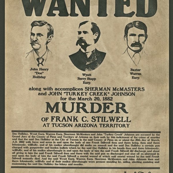 "Wyatt Earp, Doc Holiday, Wanted poster, Sheriff, 14""x11"" - Western outlaw"