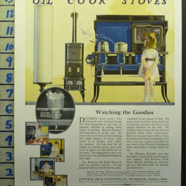 1919 FLORENCE OIL COOK STOVE KITCHEN HOME HEARTH DECOR    AI52