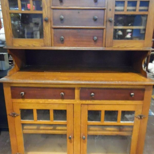 Handcrafted Antique Mercantile Cabinet