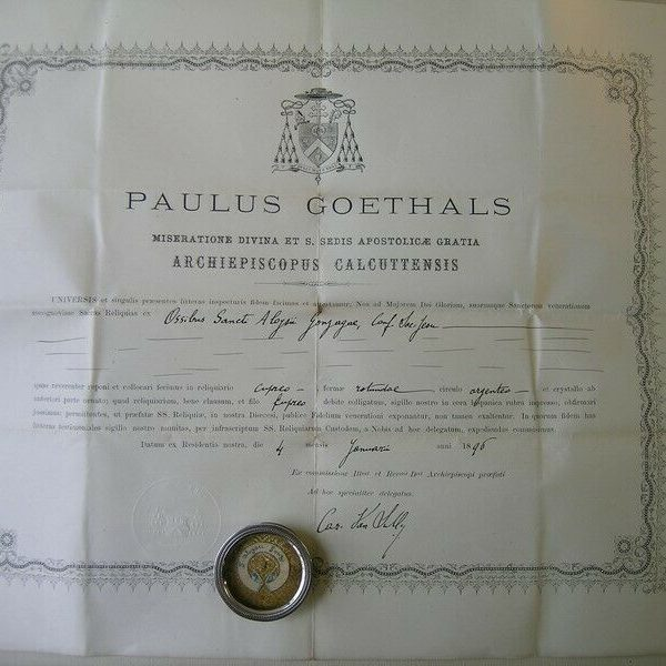 Reliquary relic Saint Aloysius Gonzaga with document 1896 (against sore eyes)