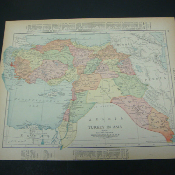 1914 Rand McNally Atlas Map Page Turkey / Asia Nice Color Suitable To Frame