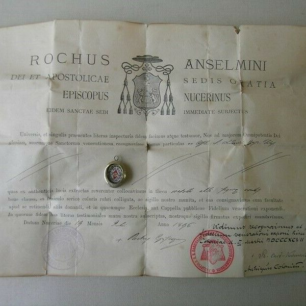 Reliquary first class relic Saint Louis of Toulouse with document