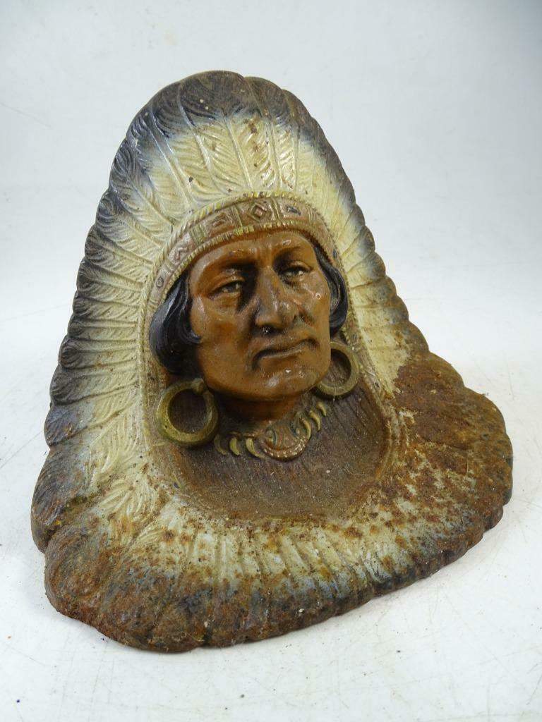 Antique Cast Iron Native American Indian Chief Door Stop Bookend Vintage 1920s