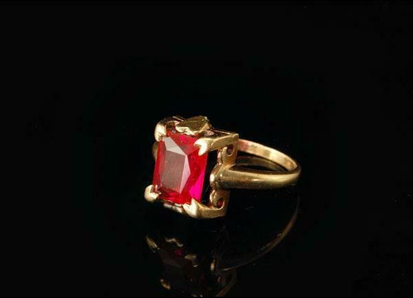 OLD PINK SAPPHIRE 10K YELLOW GOLD HEART RING  A10283