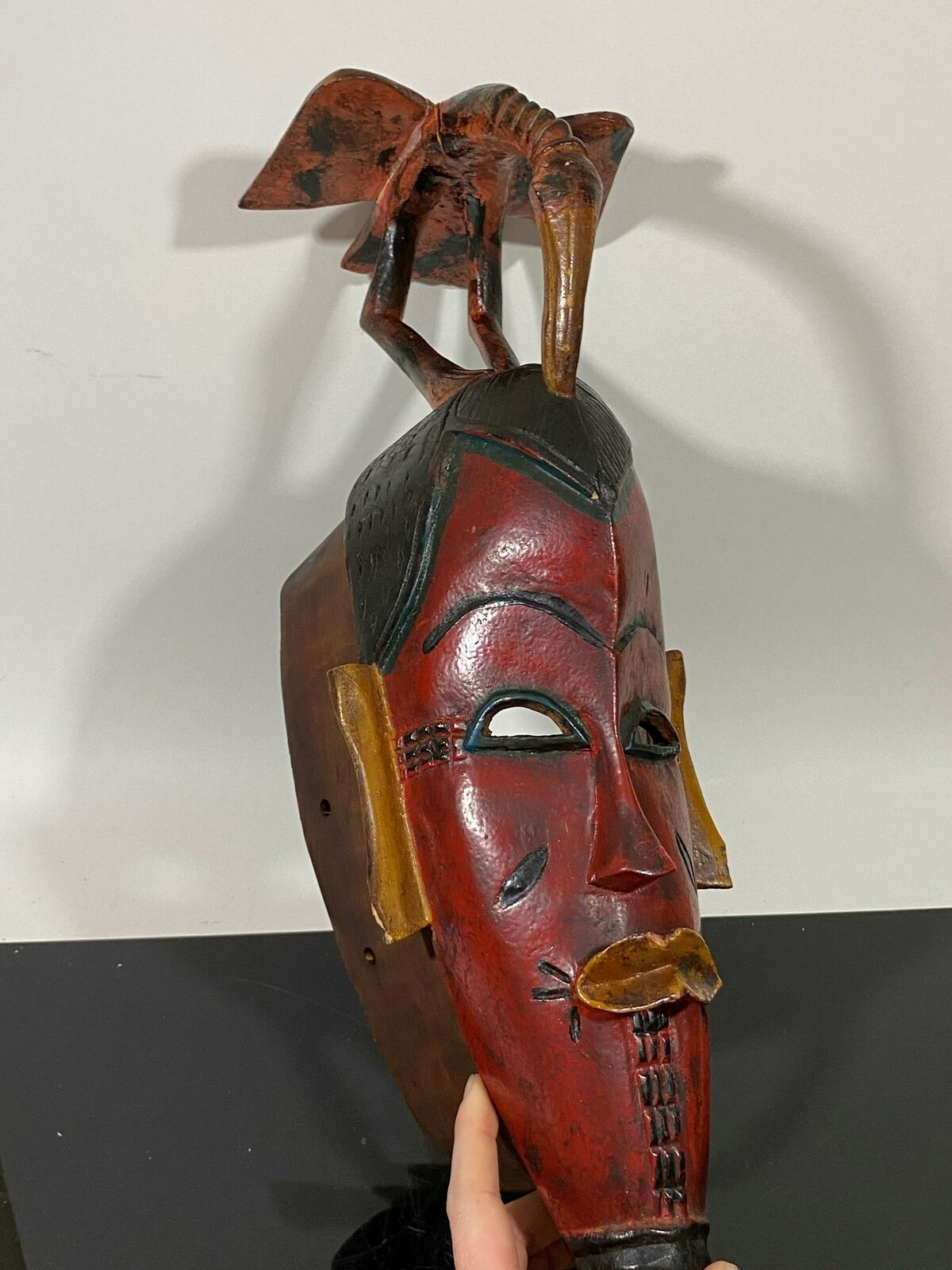Carved Wood Polychrome African Ethnic Guro Ceremonial Folk Art Mask Sculpture