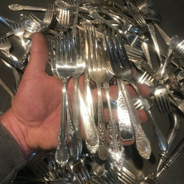 10 - SILVER PLATED SALAD FORKS (many lots available) art craft jewelry