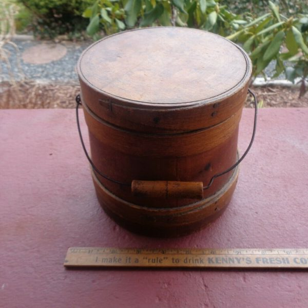 Early Antique Primitive Small Wooden Firkin Old Sugar Bucket Wire Handle