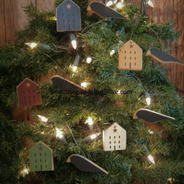 = Primitive Mini Saltbox House Star Wood Black CROW Ornies Ornaments Tuck
