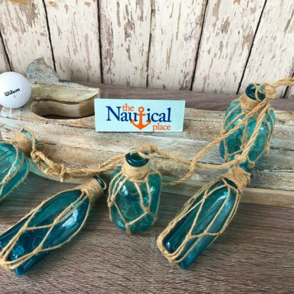 (5) Aqua Glass Bottles On Rope ~Nautical Fish Net Decor ~ Light Blue, Turquoise