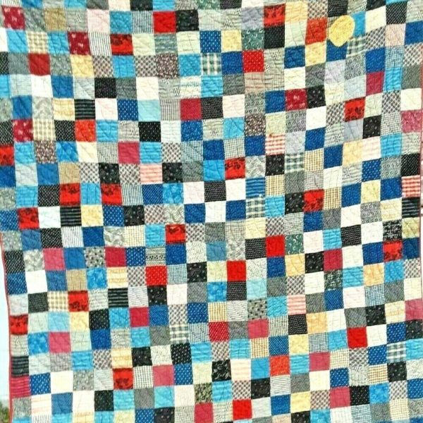 ANTIQUE VINTAGE EARLY 1900S PRIMITIVE FOLK-ART STACKED BLOCK PATCHWORK QUILT WOW