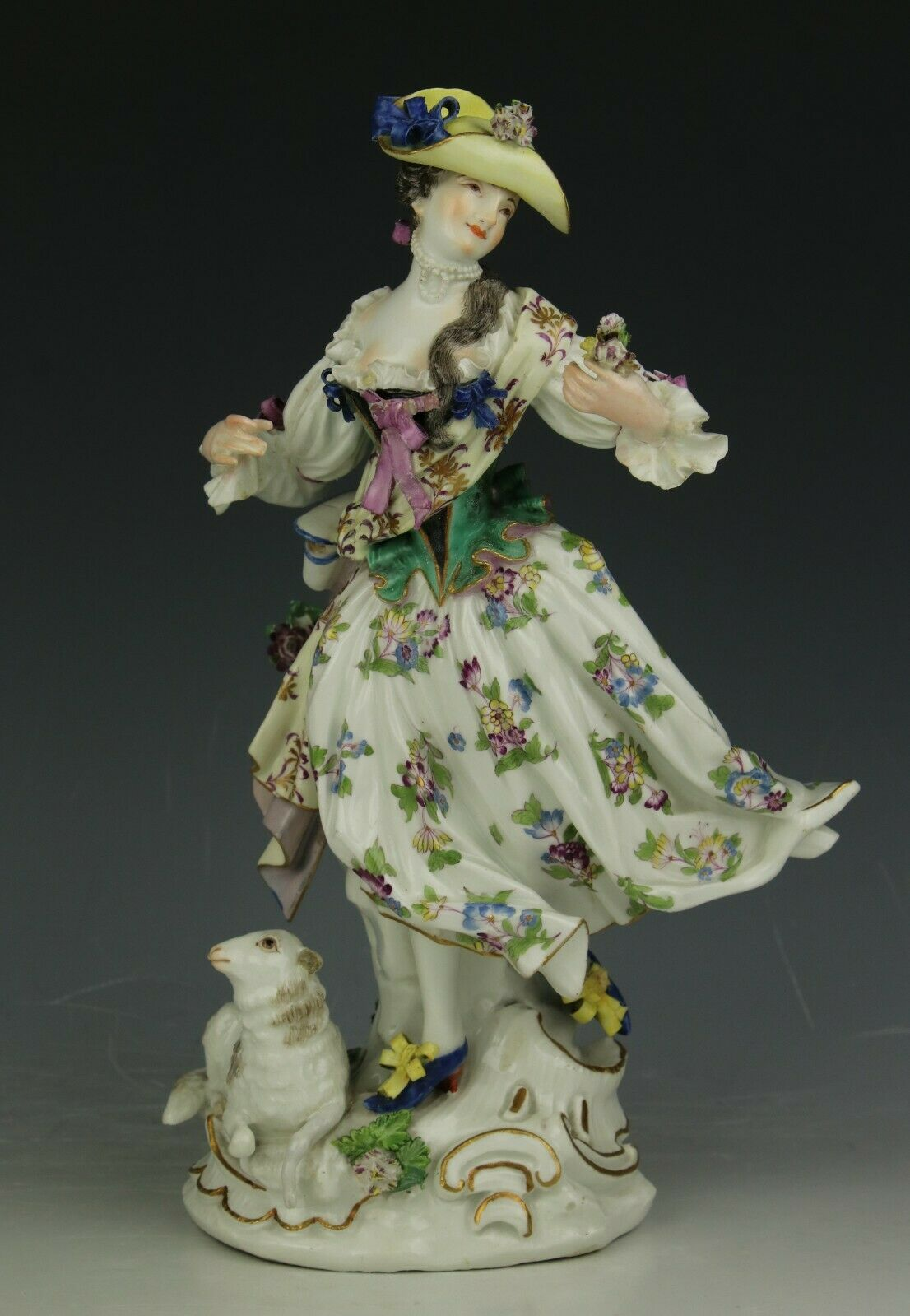 """19C Meissen Figurine """"Lady with Flowers and Sheep"""" WorldWide"""