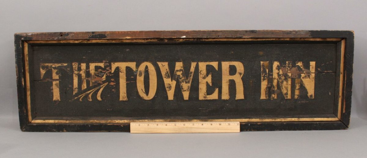 19thC Antique 2-Sided Gold Gilt THE TOWER INN Hotel Wood Sign