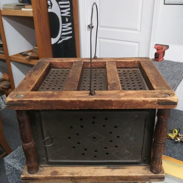 ANTIQUE 1800s PUNCHED TIN & WOOD STAGE COACH WAGON BUGGY FOOT WARMER STOVE
