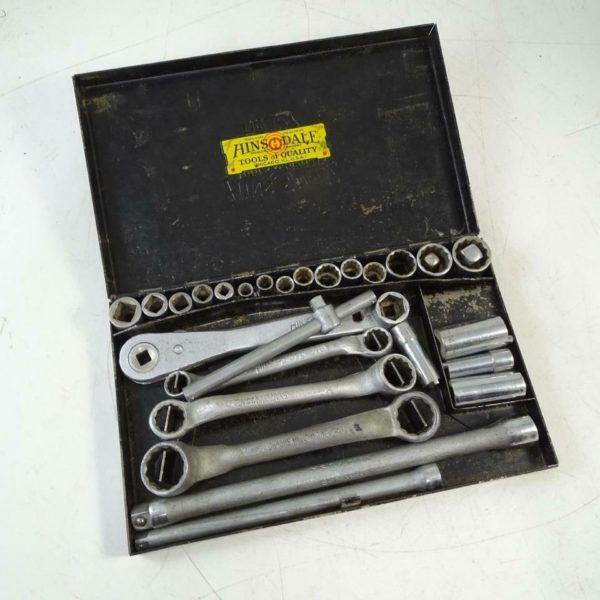 Vintage Hinsdale No 127 Socket Set Wrench w/ Case Antique Tool Accessories Old