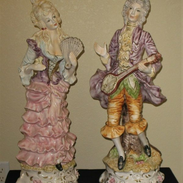 """Large 27"""" Palace Size Pair Antique Capodimonte Man & Woman Figurines ~ Italy"""