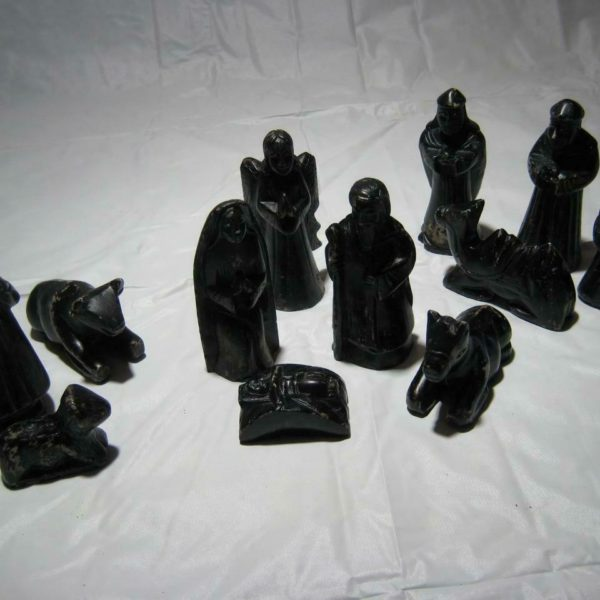 Rare Vintage 12 Piece Primitive Carved Stone Nativity Scene Set