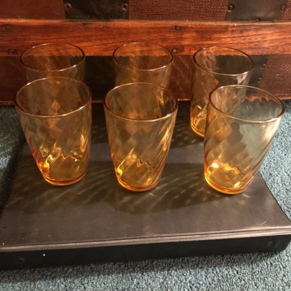 """Set Of """"6"""" Vintage Amber Drinking Glass With Swirl Design"""