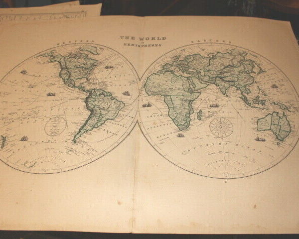 #4127,Large Map of HEMISPERES(GLOBE)1875, From Hardesty Atlas