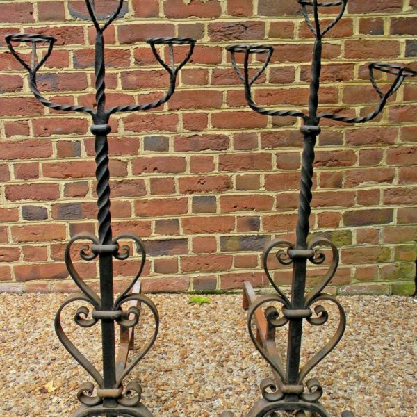 Antique Hand Wrought Iron Andirons with Warming Cups