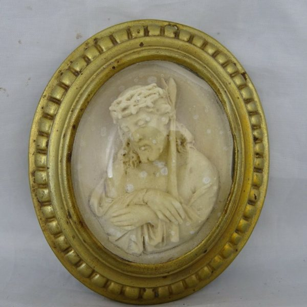 Antique French Carved Meerschaum  Reliquary 19th Religious Jesus - Brass frame