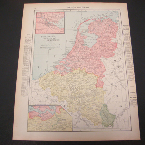 1914 Rand McNally Atlas Map Page Netherlands Belgium France Suitable To Frame