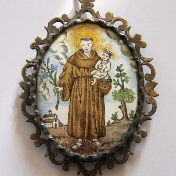 SAINT ANTHONY RELIQUARY. SILVER AND ENAMEL. SPAIN. 18th CENTURY