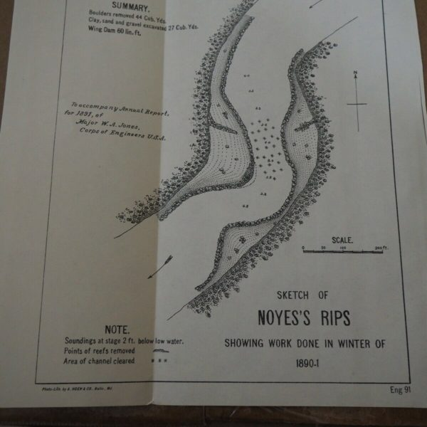 "Antique Map ""Sketch of Noyes's Rips-showing Work Done in Winter of 1890-01"""