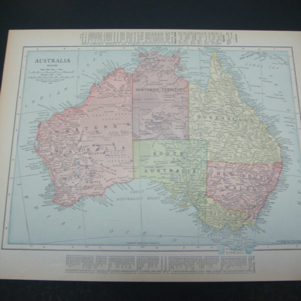 1914 Rand McNally Atlas Map Page Austrialia / New Zealand Suitable To Frame
