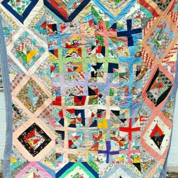 ANTIQUE VINTAGE 30S/40S STAINED-GLASS FEEDSACK FOLK-ART PATCHWORK QUILT WOW!