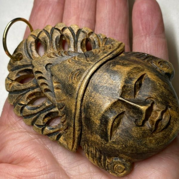 Unusual Tribal Mayian Carved Face Wood Pendant 3 1/2 inches