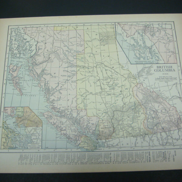 1914 Rand McNally Atlas Map Page British Columbia / Mexico Suitable To Frame