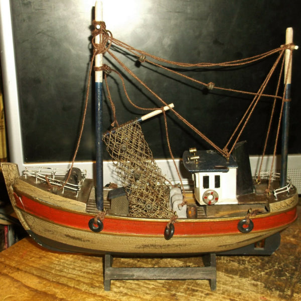 Vintage Hand Made Wooden Model Fishing Boat Trawler With Stand