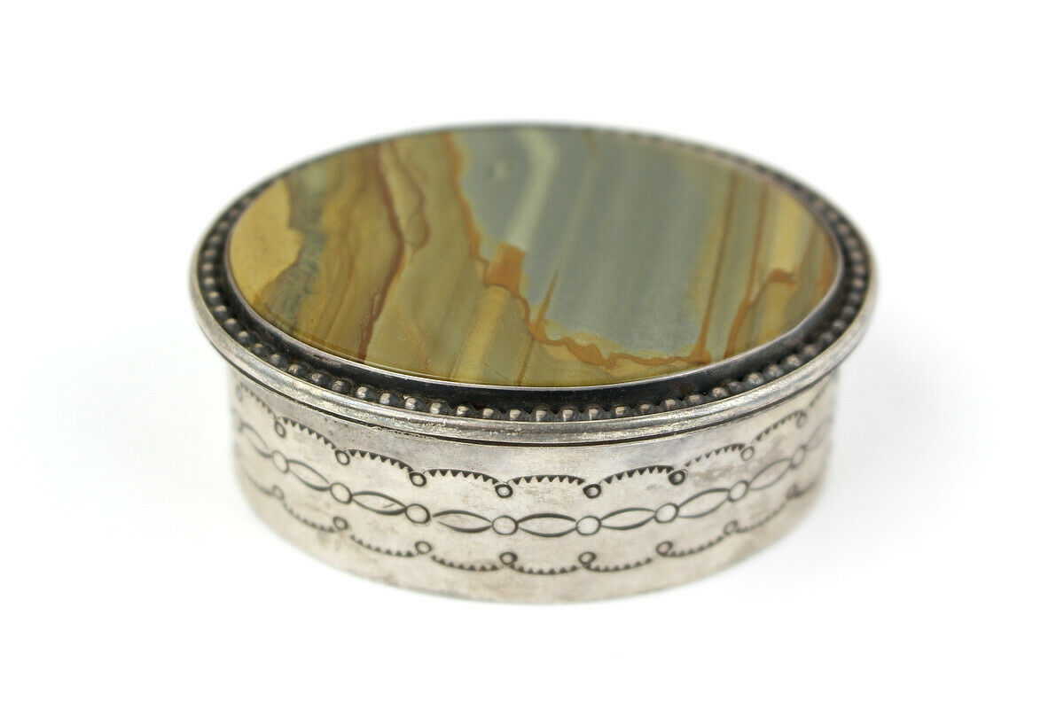 Unique Sterling Silver and Picture Jasper Trinket Box with Lid