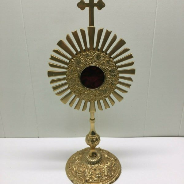 ORNATE BRASS RELIQUARY + FOR SAINTS RELIC