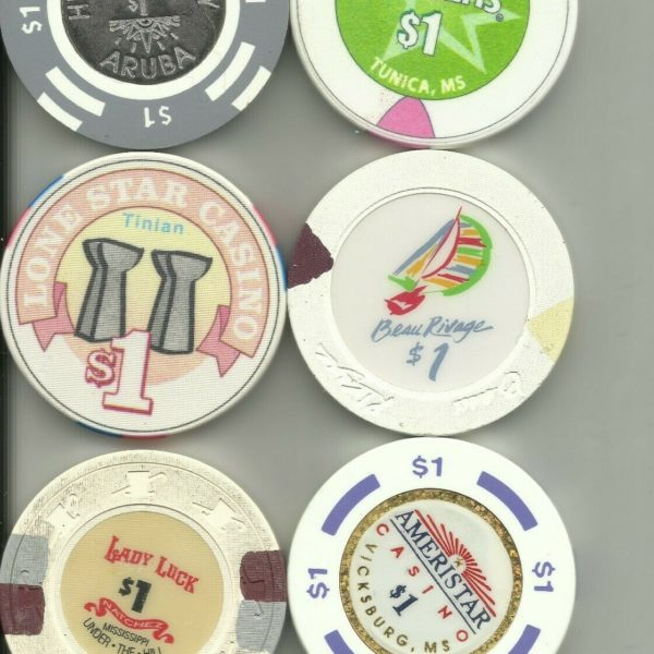 6 MISC CASINO CHIPS #20