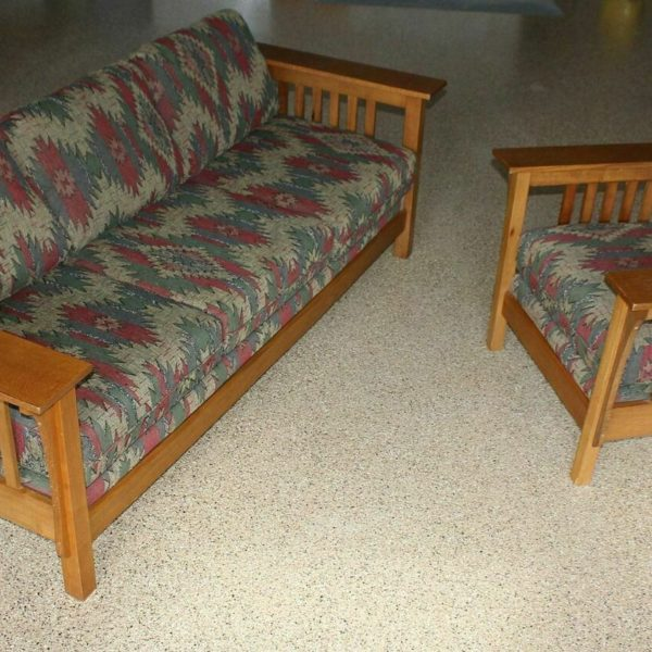 Mission Oak Arts &Crafts Stickley Style Prairie Spindle Sofa Couch AND Armchair