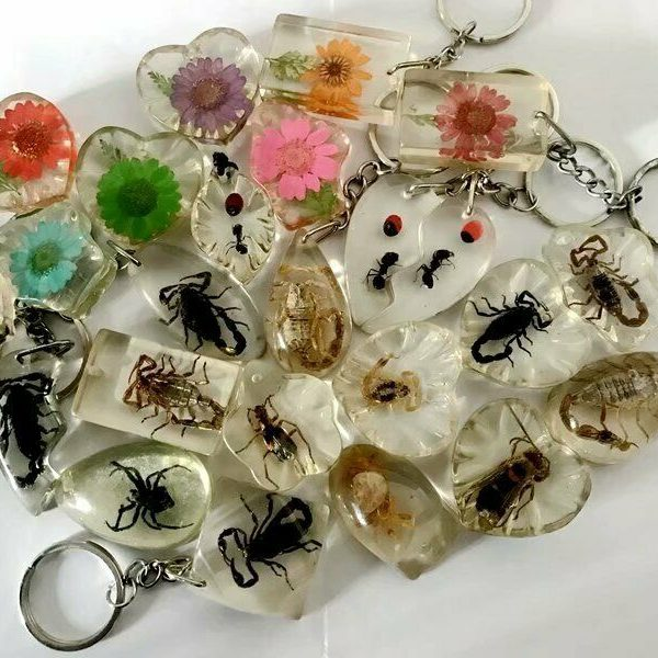 20pc wholesale lots fashion flower beetle  ant scorpion mix style key-chains F01