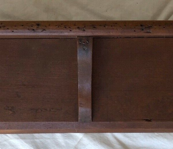 Primitive Old Refinish Cherry Square Nail Nailed Wall Clock Shelf Mid 1800s