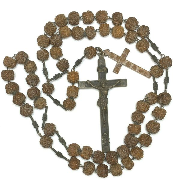 """† ENORMOUS 1700S HAND MADE NUT BEAD ROSARY 42"""" & EXTRA CRUCIFIX †"""