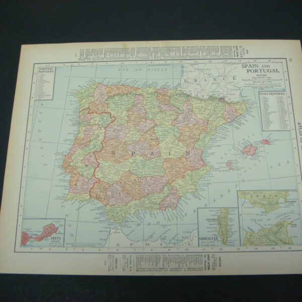 1914 Rand McNally Atlas Map Page Spain Portugal Ireland Color Suitable To Frame