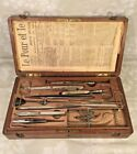 Antique French Autopsy Kit in Nicely Preserve Wood Case Filled w/ Medical Instru