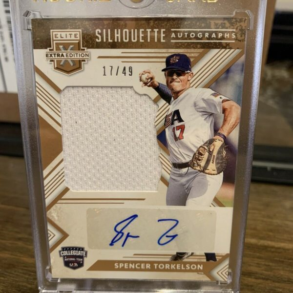 Spencer Torkelson 2018 Elite Extra Silhouette Relic Auto Gold #17/49 JERSEY #!!