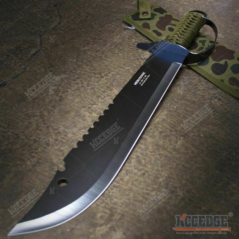 """19.5"""" FULL TANG HUNTERS CHOPPING SWORD Sawback Fixed Blade Machete with Knuckle"""