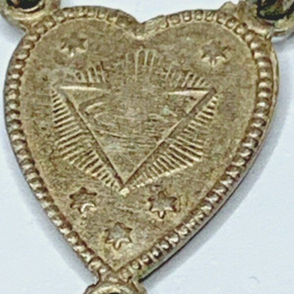 "† 1800S ANTIQUE ALPACCA SILVER ""ALL SEEING EYE"" MASONIC ROSARY NECKLACE 19"" †"