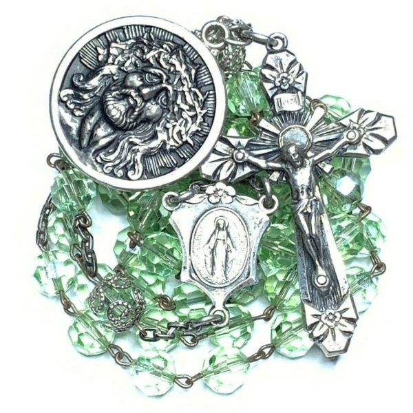 "† RARE VINTAGE STERLING HUGE 3D ""ECCE HOME"" MEDAL AB GREEN ROSARY NECKLACE 28"" †"