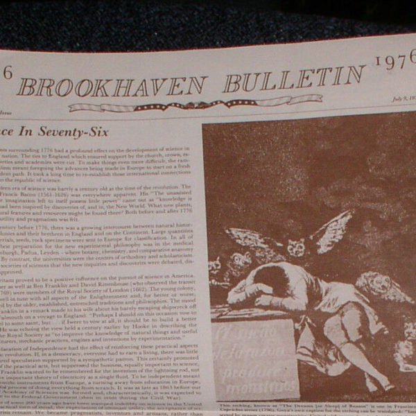 1976 BROOKHAVEN BULLETIN NATIONAL LAB BICENTENIAL ISSUE SCIENCE MEDICINE PHYSICS