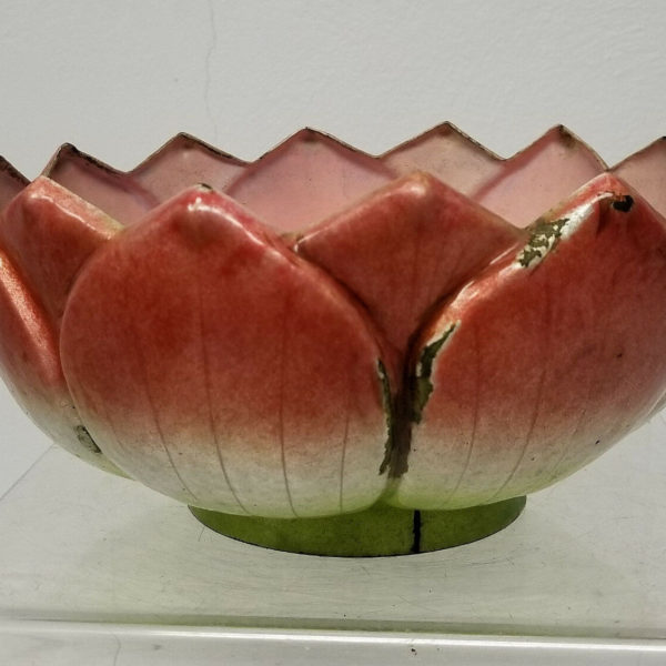 Antique Chinese Enameled Copper Bronze Lotus Form Bowl As Is