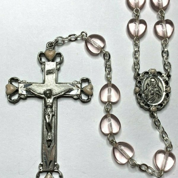 "† HTF VINTAGE PINK ENAMELED ACCENT & HEART SHAPED PINK BEAD PEWTER ROSARY 30"" †"
