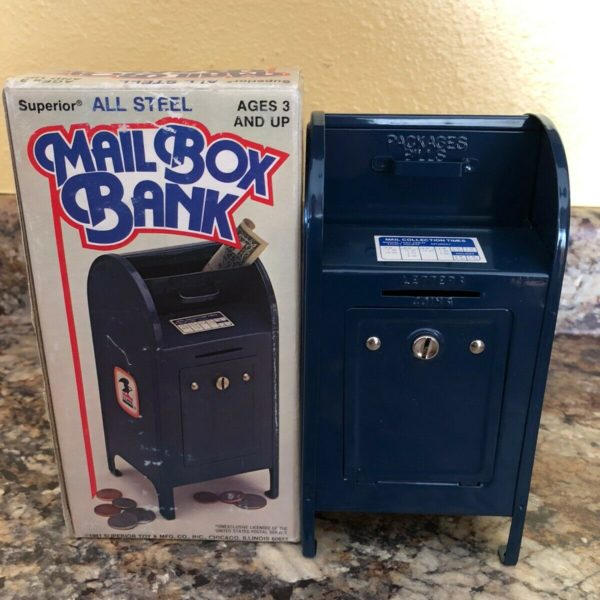 Vintage USPS Post Office Coin Bank Metal Mail Box + Key