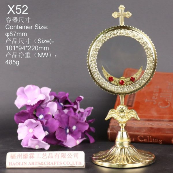 """Brass Monstrance Reliquary for relic, 8.66""""High X52"""